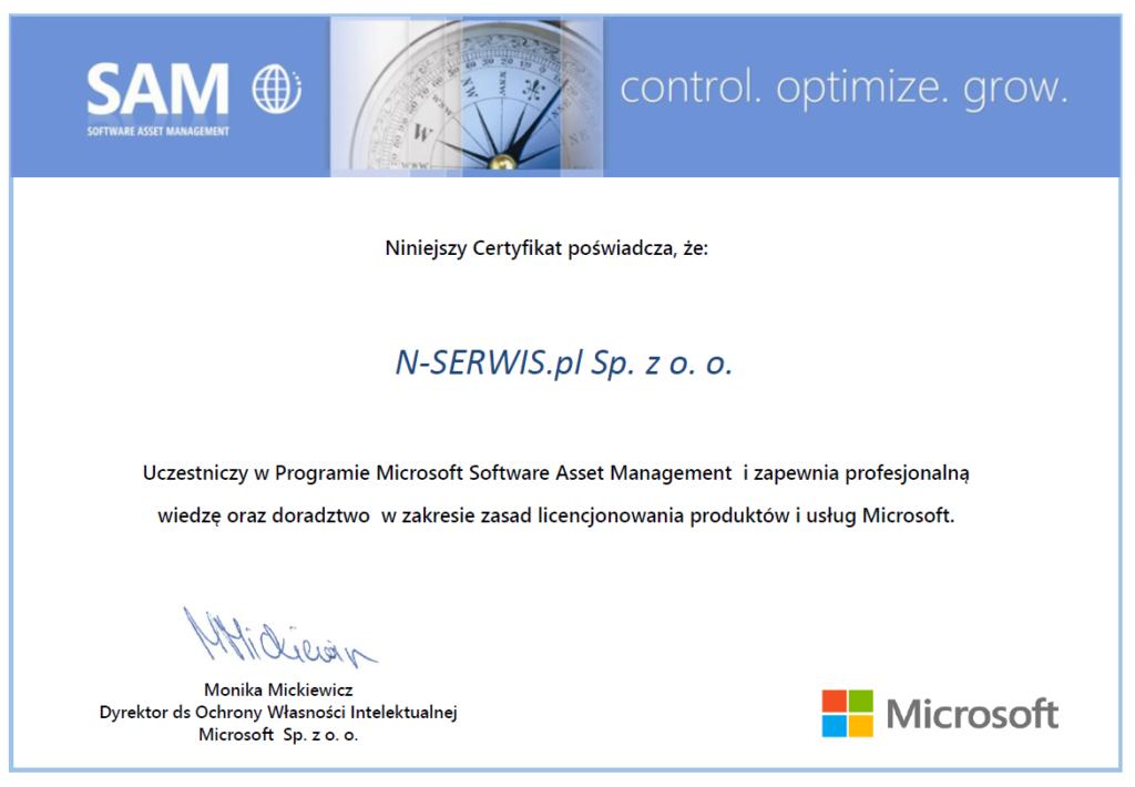 Certyfikat SAM N-Serwis.pl